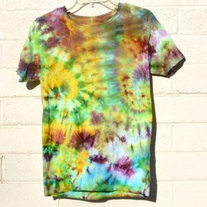 Turquoise Green Purple Tie Dyed T Shirt Tee Small